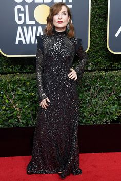 All the Glamorous 2018 Golden Globes Red Carpet Arrivals - Isabelle Huppert from InStyle.com