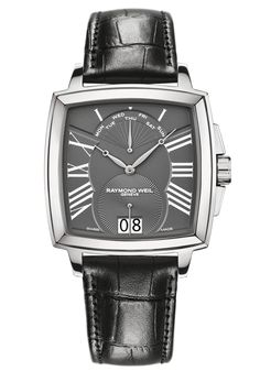 Raymond Weil Tradition  retrograde square  Steel on leather strap grey dial #luxurywatch #raymondweil Raymond-Weil. Swiss Luxury Watchmakers watches #horlogerie @calibrelondon