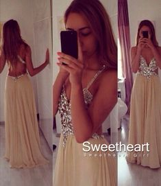 Champagne A-line Chiffon Backless Long Prom Dresses, Formal Dress