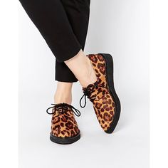ASOS MEMORISE Flat Shoes ($46) ❤ liked on Polyvore featuring shoes, flats, leopard, leopard print flats, leopard shoes, flat pointed-toe shoes, lace up flats and flat pumps