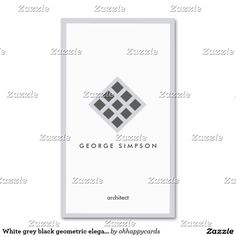 White congregation black geometric elegant framed business card