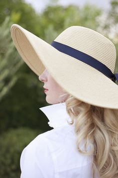 cec492ac1ed Chic Floppy Sun Hat with a Navy Ribbon