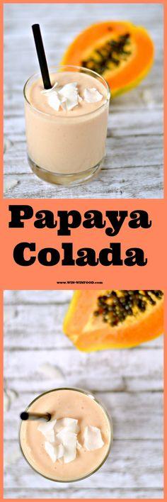 Papaya Colada | WIN-WINFOOD.com Extra thick, ice-cold and creamy papaya twist on pina colada (alcohol-free option) #drink #healthy #dairyfree #cleaneating #vegan #sugarfree #glutenfree #raw option