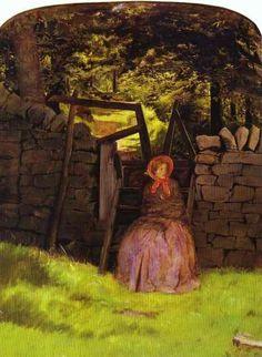 "the waiting, para este cuadro de Millais se duda si posó Annie Miller o Effie, es curioso como las llamadas ""Stunners"" modelos de los prerrafaelitas, pasaban de unos a otros , no solo para posar, sino sentimentalmente hablando"