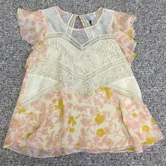Anthropologie floral and lace top Anthroplogie floral and lace top. Sweetheart neckline. Flutter sleeve. Light flowy top perfect for spring. Worn ONCE. Practically brand new. So pretty and feminine. Size 6us. Pink and cream wit some yellow accents Anthropologie Tops Blouses