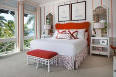Nautical bedroom in red by Joy Tribout Interior Design.