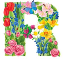The Letter R ~ Spring Garden Alphabet Alphabet Style, Alphabet Letters Design, Flower Alphabet, Monogram Alphabet, Alphabet And Numbers, Letter Designs, All Flowers, Colorful Flowers, Floral Letters