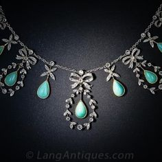 Belle Epoque Turquoise, Rose-Cut Diamond and Platinum Necklace - Victorian Jewelry - Vintage Jewelry