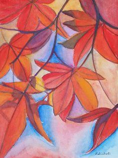 """""""Foglie rosse"""" by Francesca Licchelli - pezzo unico, originale, acquerello su carta 450 g./m2 - misure: 24 x 32 cm. - anno: 2016. www.francescalicchelli.etsy.com #originalpainting #originalwatercolor #redleaves"""