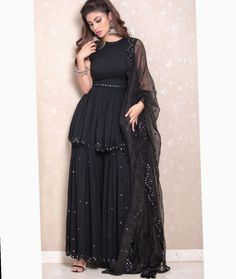 Indian gowns dresses - Bollywood Black Pakistani sharara set with beautiful net dupatta – Indian gowns dresses Indian Fashion Dresses, Indian Gowns Dresses, Dress Indian Style, Indian Designer Outfits, Indian Fashion Trends, Indian Long Gowns, Pakistani Fashion Party Wear, Fashion Outfits, Designer Party Wear Dresses