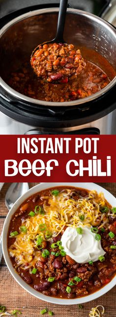 I made with bison and chicken broth. This quick and easy Instant Pot Chili Recipe is loaded with ground beef, beans and tomatoes in a hearty and spicy sauce. Chili Instant Pot Recipe, Beef Chili Recipe, Chilli Recipes, Instant Pot Dinner Recipes, Bean Recipes, Chili Recipe Quick And Easy, Sauce Recipes, Chicken Recipes, Slow Cooker Chili