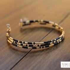 Bracelet perles verre du japon miyuki delicas 11/0 noir et or gold doré - bracelet mémoire de forme