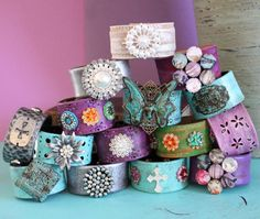 Bohemian Leather Cuffs by Ever Designs ~ Upcycled from vintage leather belts, hand painted and embellished.