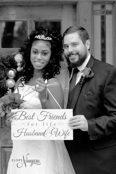 Best friends get married at the little log wedding chapel Wedding Chalkboards, Chalkboard Wedding, Niagara Falls Wedding, Chapel Wedding, Husband Wife, Got Married, Fall Wedding, Wedding Photos, Best Friends