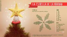 Ravelry: Christmas tree amigurumi star (free) pattern by Cristina Batista. Christmas Tree Star Topper, Star Tree Topper, Crochet Christmas Ornaments, Holiday Crochet, Christmas Tree Ornaments, Christmas Crafts, Christmas Star, Xmas Tree, Knitted Flowers