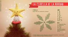 Una estrella de amigurumi para tu árbol de navidad