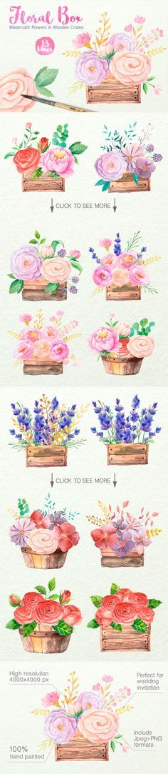 watercolor floral box flowers clip art set pink reds Hand-painted bouquets Clip Art Feminine / Girly Graphics / PNG / Stock Images for Wedding Invitations or Party Invites
