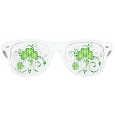 Shamrock Swirls Retro Glasses - retro gifts style cyo diy special idea
