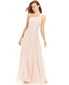 Adrianna Papell Petite One-Shoulder Tiered Chiffon Gown $199 macys with 15% off