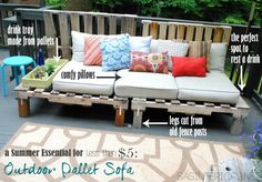 A Summer Essential for the patio or deck: an Outdoor Pallet Sofa - Easy to make and costs less than 5 dollars!