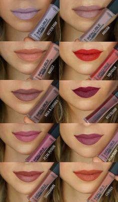 Infallible Pro-Matte Liquid Lipstick by L'Oréal Paris. High pigment matte lipsticks that create long lasting matte lip color lasting up to Makeup Swatches, Makeup Dupes, Skin Makeup, Beauty Makeup, Makeup Products, Loreal Infallible Lipstick, Liquid Lipstick, Maybelline Lipstick, Nyx