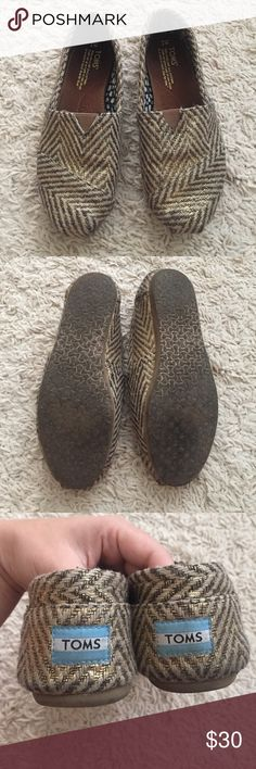 Metallic Gold and Brown Chevron TOMS Great condition, only worn a handful of times. Slightly metallic, pretty pattern! TOMS Shoes Flats & Loafers