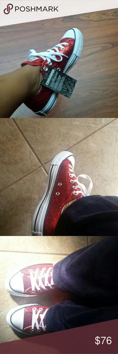 Authentic Ruby RED Glitter Converse!! Size 6 Size 7 Size 8 All available now, dont miss out! A must have!! Comes with the box. Womens Sizes Converse Shoes Sneakers