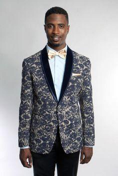 Shawl Colar multi-colored Blazer Mens Tuxedo Jacket slim fit By Tazio blue mix #TAZIO #OneButton