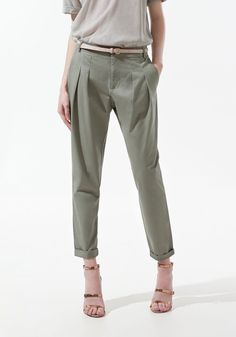 Army Greeni Low Waist Belt Loose Cotton Pants