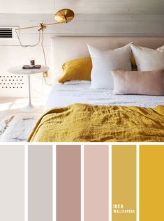 10 Best Color Schemes for Your Bedroom { Light Grey + Mustard } With mauve accents &; mustard color b&; 10 Best Color Schemes for Your Bedroom { Light Grey + Mustard } With mauve accents &; mustard color b&; Bedroom Colour Palette, Bedroom Color Schemes, Bedroom Colors, Bedroom Decor, Color Palette Gray, Mauve Bedroom, Apartment Color Schemes, Home Decor Bedding, Cozy Bedroom