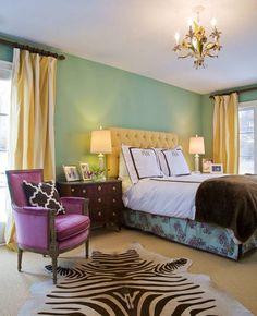 vibrant tiffany blue, yellow and fushia bedroom