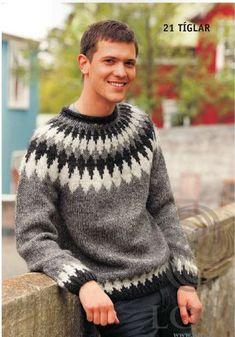 This classic sweater deserves a spot in every wardrobe! Featuring simple, stranded colorwork styling, the Tiglar Pullover is the perfect choice for welcoming warmth with the timeless look of Icelan. Icelandic Sweaters, Wool Sweaters, Fair Isle Pullover, Sweater Making, Men Design, Mens Jumpers, Knitting Designs, Knitting Ideas, Knitting Patterns
