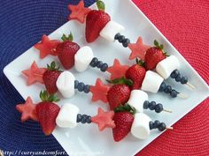 Substitute bananas for marshmellows ... and it's red, white, blue and healthy too!
