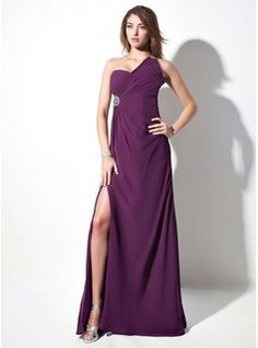 Special Occasion Dresses - $150.99 - Sheath One-Shoulder Sweep Train Chiffon Evening Dress With Ruffle Beading  http://www.dressfirst.com/Sheath-One-Shoulder-Sweep-Train-Chiffon-Evening-Dress-With-Ruffle-Beading-017016057-g16057