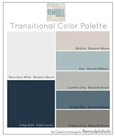 Transitional Color Palette: paint colors that are great for mixing warm and cool tones. Transitional Color Palette: paint colors that are great for mixing warm and cool tones. Paint Schemes, Colour Schemes, Color Trends, Blue Color Combinations, Wall Colors, House Colors, Foyer Colors, Entryway Paint Colors, Basement Colors