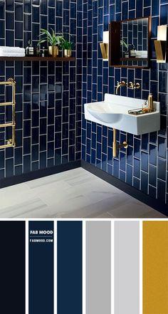 Bathroom Interior Design, Interior Decorating, Dark Blue Bathrooms, Gold Bathroom, Blue Bathroom Tiles, Blue Tiles, Bathroom Inspiration, Bedroom Decor, Bedroom Colors