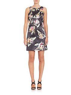 Phoebe Floral Dress - Black  - Size