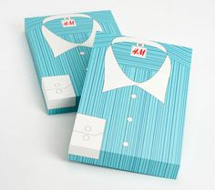 These are clothing boxes for H The stylized shirt nods at the content without seeming too childish. Designing the packaging like this could probably increase the cost of the actual item. It would be interesting to see a series of different types of shirts in assorted colors that were given when an item is purchased.