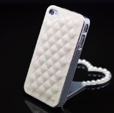 Deluxe White Synthetic leather Chrome Back Case Cover Skin for iPhone 4 4G 4S J[case],Card Wallet flower diamond shoulder bag case For SamSung i9300 N7100 Iphone 5