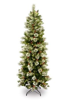National Tree 7 12 Wintry Pine Slim Tree Hinged 400 Clear Lights WP131075 *** Find out more about the great product at the image link.