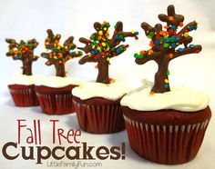 Simple Tree Cupcakes for Autumn. Fall Cupcakes - a fun treat while studying Autumn Treasures