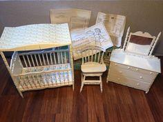 Amsco Nursery Ensemble Doll Furniture Crib/Dresser/Mirror/Chair Tray VTG 1968 #Amsco Antique Toys, Vintage Antiques, Vintage Dollhouse, Dresser With Mirror, Doll Furniture, Cribs, Tray, Nursery, Cabinet