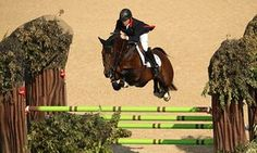 Nick Skelton on his horse Big Star on their way to winning the individual showjumping gold in Rio.