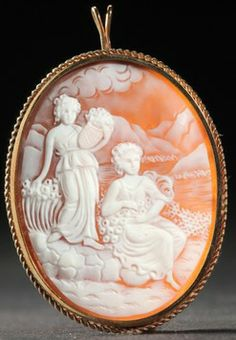 Shell Cameo Brooch, Finely Carved Scene Of Two Women By A Riverbank, In 14k Gold Frame - American   c.1901-1925  -  Prices4Antiques