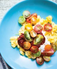 Scrambled Eggs with Cherry Tomatoes and Harissa