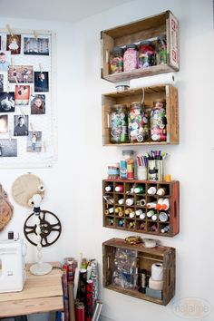 Crate Shelves from Natalme - Fabulous creative storage solutions for your studio! via hearthandmadeuk Crate Shelves from Natalme - Fabulous creative storage solutions for your studio! via hearthandmadeuk Craft Room Storage, Art Storage, Creative Storage, Craft Organization, Storage Shelves, Wall Shelves, Storage Crates, Office Storage, Craft Rooms