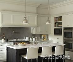 Ivory and Black Kitchen Cabinets with Stainless Steel Hex Tile Backsplash - Transitional - Kitchen Black Kitchens, Home Kitchens, Classic White Kitchen, Kitchen White, Nice Kitchen, Two Tone Kitchen Cabinets, Shaker Cabinets, Kitchen Photos, Kitchen Ideas