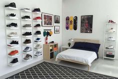 IKEA® and HYPEBEAST Design the Ideal Sneakerhead Bedroom: Plenty of space to display your kicks, and even room for a bed. Ikea Bedroom, Small Room Bedroom, Room Ideas Bedroom, Boys Room Decor, Closet Bedroom, Trendy Bedroom, Bedroom Decor, Ikea Closet, Closet Shelves