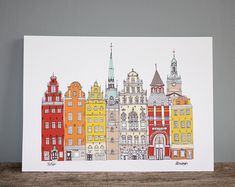 Copenhagen cityscape style illustration print, featuring some of the beautiful buildings in the city including waterside Nyhavn buildings, with