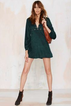 Jacqueline Plunging Ultra Suede Dress - Green - Night Fever | Night Fever | Okay Focus | Suede | Day | Body-Con | All